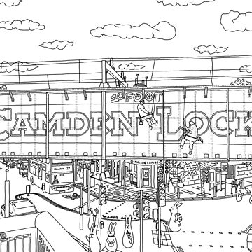 Bunnies in London Camden Lock - Line Art by m-lapino