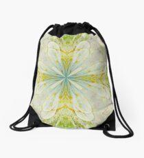 White On Green  Drawstring Bag