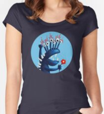 Funny Monster In Blue With Flower Women's Fitted Scoop T-Shirt