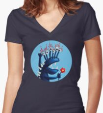Funny Monster In Blue With Flower Women's Fitted V-Neck T-Shirt