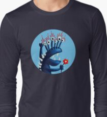 Funny Monster In Blue With Flower Long Sleeve T-Shirt