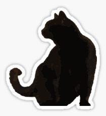 Black Cat Profile Silhouette Vector Art Sticker