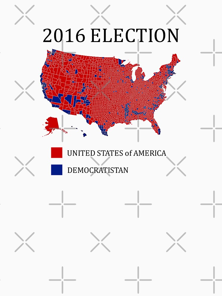 2016 Election Results Map By County | This is the original design uploaded  at 8100 px = super high quality resolution printing | Long T-Shirt
