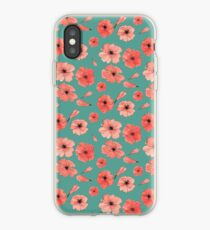 Little Poppies pattern on green  iPhone Case