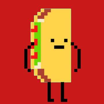 Taco Man Pixel Art 8-Bit Design by oggi0