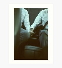 Gay wedding grooms hold hands in car c41 film fine art analog lgbt marriage photo Art Print