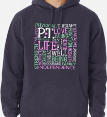 b71909ea9 PT Physical Therapy Word Art Physical Therapist Gift Pullover Hoodie
