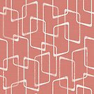 Retro Salmon Geometric Shapes Pattern by itsjensworld