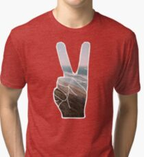 Peace Hand Beach Good Vibes Tumblr Vintage Love Instagram Print Tri-blend T-Shirt