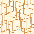 Reverse Retro Faded Orange Lino Print Geometric Pattern by itsjensworld