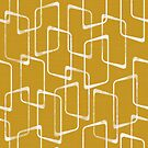 Retro Old Gold Lino Print Geometric Pattern by itsjensworld