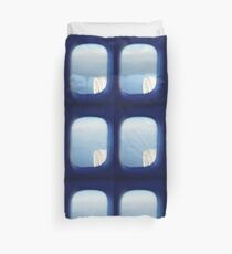 Plane wing in blue sky analogue 35mm film ra-4 darkroom photo Duvet Cover