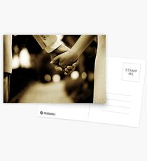 Bride and groom holding hands sepia toned black and white silver gelatin 35mm film analog wedding photograph Postcards