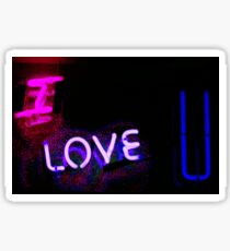 I love you neon light sign at night photograph romantic designs Sticker