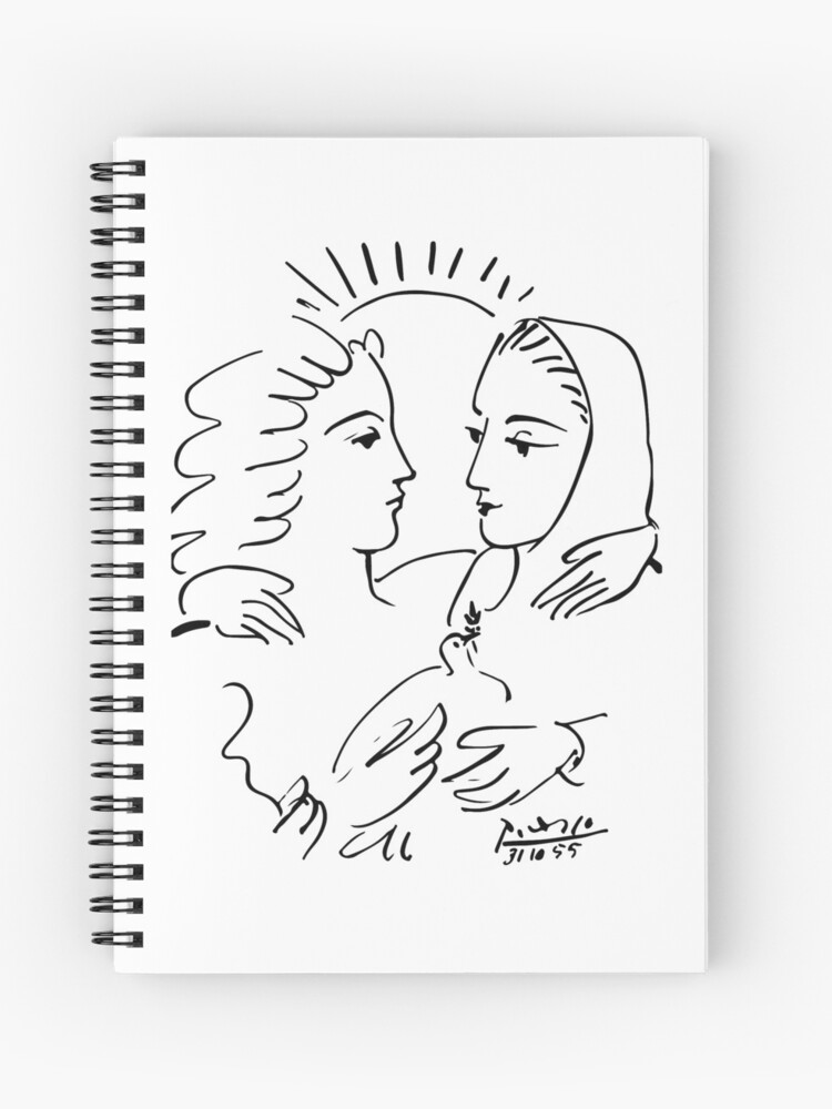 Pablo Picasso Women With A Dove 1955 T Shirt, Artwork Sketch   Spiral  Notebook