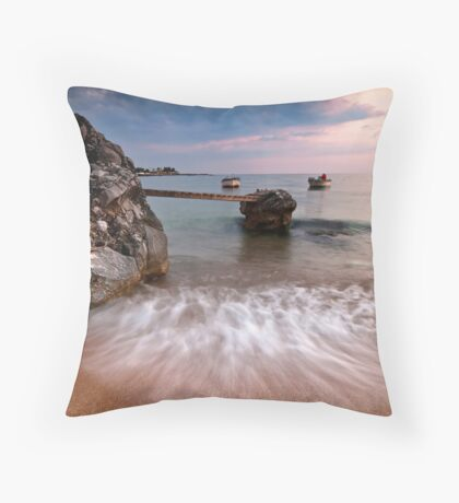 Two boats in Stoupa. Throw Pillow
