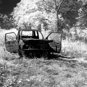 Burnt out Jeep in a field - Infrared. by Ajmdc