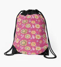 Boho Floral Bloom yellow pattern on fucsia background Drawstring Bag