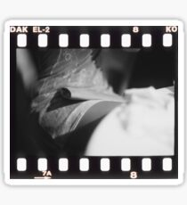 Sensual young lady in short skirt in wedding black and white slide film 35mm analog Sticker