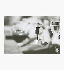Bride and groom cake topper wedding marriage banquet black and white analog 35mm film photo Photographic Print
