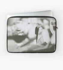Bride and groom cake topper wedding marriage banquet black and white analog 35mm film photo Laptop Sleeve