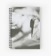 Bride and groom cake topper wedding marriage banquet black and white analog 35mm film photo Spiral Notebook