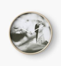 Bride and groom cake topper wedding marriage banquet black and white analog 35mm film photo Clock