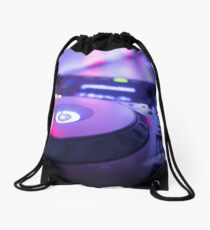 House dance music dj deejay turntable mixing desk nightclub party Ibiza Drawstring Bag