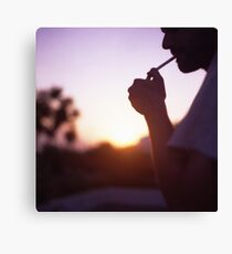 Young man smoking cigarette medium format Hasselblad film photo  Canvas Print
