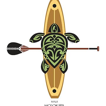 Black & Green Tribal Turtle Stand-Up Wave Rider / Ho'okipa, Maui by srwdesign
