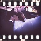 Wedding bride and bridegroom in car 35mm slide film strip by edwardolive