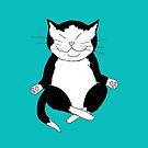 Meditating Tuxedo Kitty by Sarah Countiss