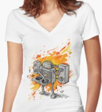 Robot DJ is in the House! Women's Fitted V-Neck T-Shirt