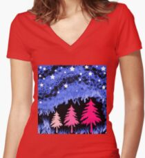 Fantasy Forest Evening Stars Women's Fitted V-Neck T-Shirt