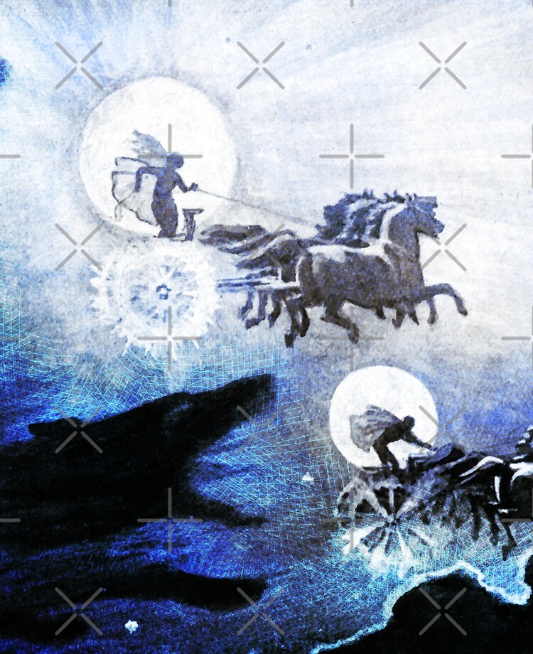 The SAGAS The Wolves Pursuing Sol and Mani Medieval engraving blue dragon  dogs and horses Norse Viking Mythology HD High Quality | iPad Case & Skin