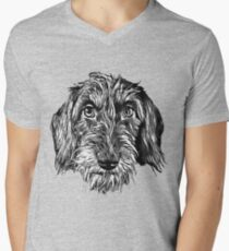 Wire-haired dachshund head Men's V-Neck T-Shirt