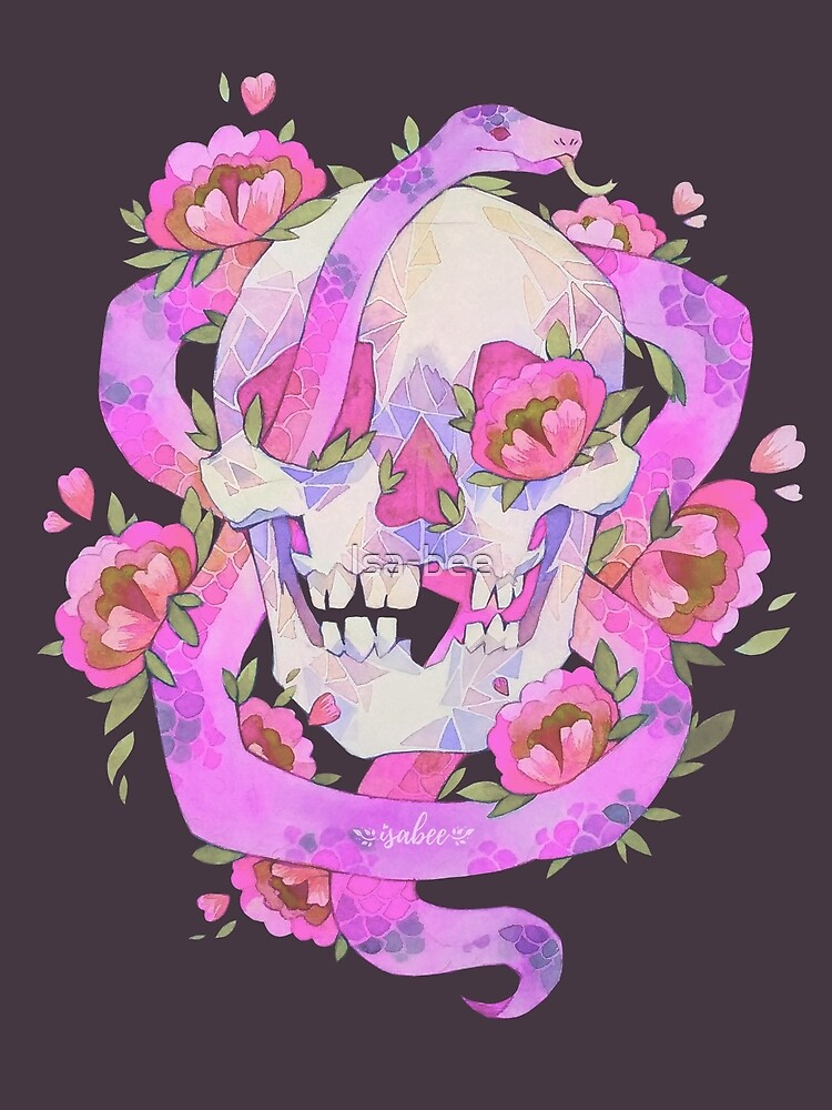 Skull with Flowers - Watercolor Drawing - Pink by Isa-bee