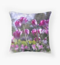 Watercolor effect pink tulips Throw Pillow