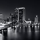 St Johns River Skyline By Night, Jacksonville, Florida In Black And White by Kay Brewer