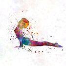 Yoga woman 02 in watercolor splatter by paulrommer
