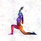 Yoga woman 04 in watercolor splatter by paulrommer
