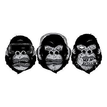 Three Modern Monkeys by litteposterco