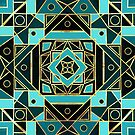 Art Deco With Gold & Teal  by TigaTiga