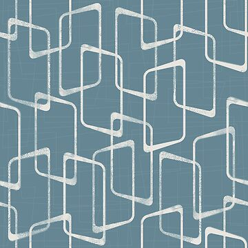 Blue Gray Retro Geometric Pattern by itsjensworld