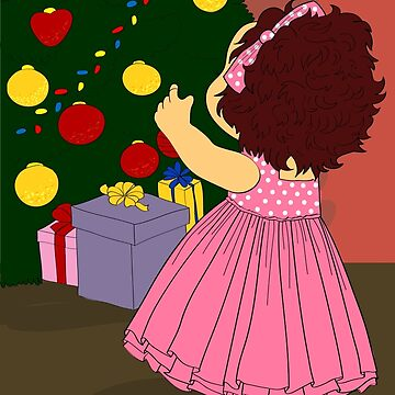 Little girl decorate christmas tree by Marishkayu