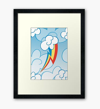 Rainbow Dash among the clouds Framed Print