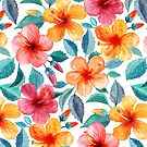 Colorful Watercolor Hibiscus on Clean White by micklyn