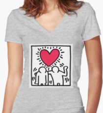 KEITH HARING DESIGN  Women's Fitted V-Neck T-Shirt