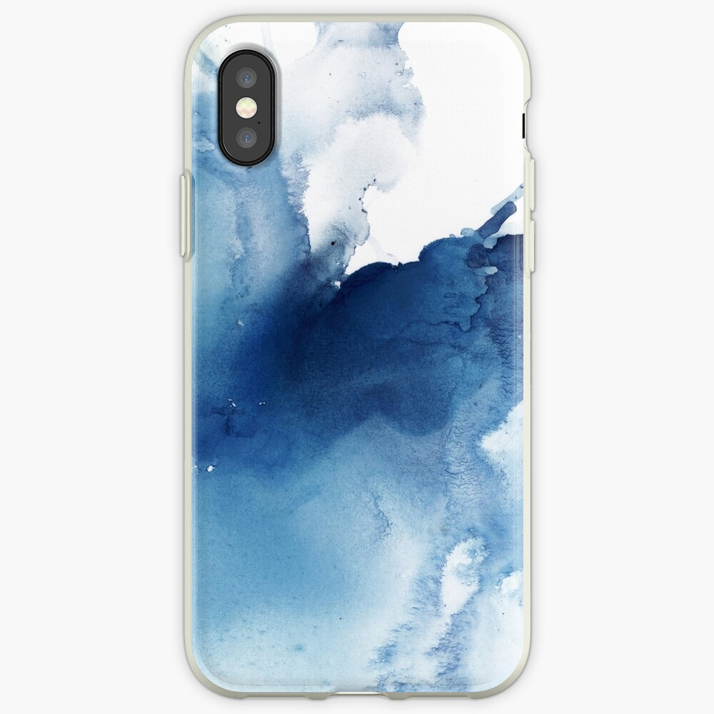 Indigo Blue Sea, Abstract Ink Painting iPhone Case & Cover
