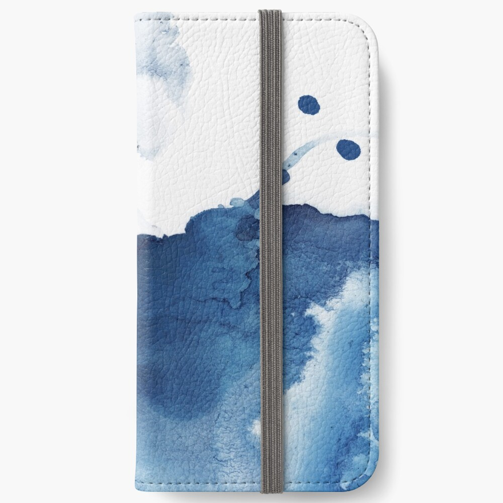 Indigo Blue Sea, Abstract Ink Painting iPhone Wallet